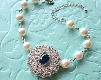 Blue Sapphire Crystal Filigree Swarovski Pearls Bridal Bracelet. Victorian Vintage Style Crystal Wedding Bracelet. Blue Wedding Jewelry.