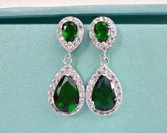 Emerald Teardrop Bridal Earrings, Green CZ Wedding Earrings, Emerald Crystal Bridal Earrings, Green Wedding Bridesmaids Earrings