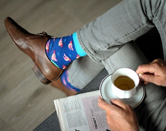 Chicken Reggie Blue Men Socks /cotton socks/cute socks/men socks/colorful/gift socks/casual socks/