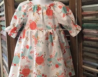 Girls peasant dress, Girls dress, Girls party dress, Toddler dress,  Boho girls dress, Size 2T girls dress, Girl summer dress, #158