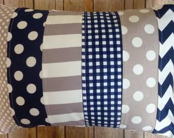 Grey and Navy Blue Pillow, Striped Pillow, Nursery Decor, navy blue, blue, grey, gray, nautical, Chevron, Nursery Decor