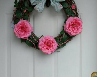 Shabby Chic Spring Wreath on Grapevine Frame with Pink Roses and Pink Berry Sprays