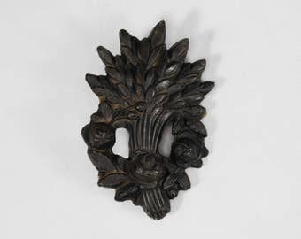 Antique Victorian Brooch; Pressed Horn Wheat Sheaf and Rose Design; Mourning, Christianity, Sentimental, Symbolism