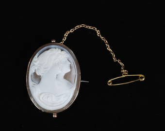 Victorian 9ct Rose Gold Double Portrait Shell Cameo Brooch -- REDUCED!