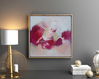 Original painting, fuchsia, red, maroon, tan, white, peach, gallery wrapped cotton canvas, 12x12x1.5
