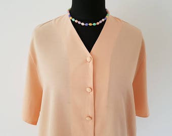 Pretty peach oversized loose blouse | Collarless V-neck | One Size