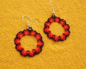 Huichol Beaded Flower Earrings/ Huichol Jewelry/ Native Beadwork/ Mexican Folk Art
