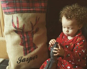 personalised Christmas sack, santa sack with name, hessian present sack, burlap gift bag, jute xmas sack, tartan gift sack, stag santa sack