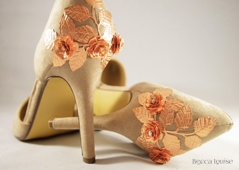 Wedding Bridal shoes rose gold copper leaf leaves heels peep