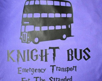 Harry potter inspired shirt, welcome to the Knight bus, emergency transport for the stranded witch or wizard, all destinations, purple shirt