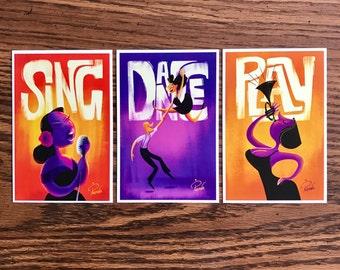 Sing Dance Play 4x6 Print set