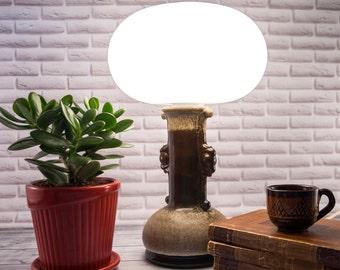 Ceramic lamp, milk glass lampshade, ceramic lamp base, ceramic lighting, ceramic light, pottery lamp, West Germany pottery, brown lamp base