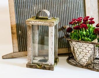 Vintage wood rustic lantern / wood candle lantern / tealight lantern / wood lantern / hanging candle lantern / wood garden lantern /