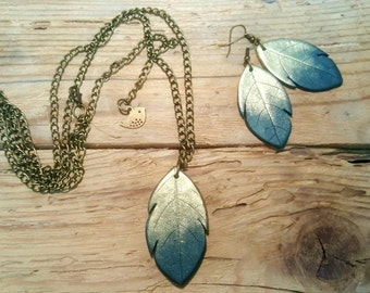 Polymer clay jewelry,polymer clay set, pendant on long chain, leaf stamp, leaf earrings, leaf pendants necklace, natural jewelry, modern set