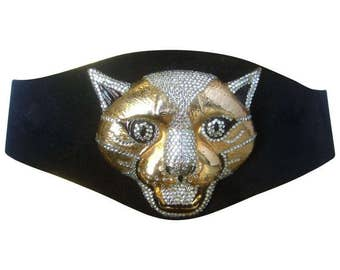 Spectacular Massive Jeweled Panther Suede Belt. 1970's