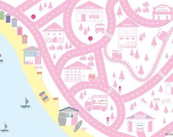Pink personalised seaside car mat