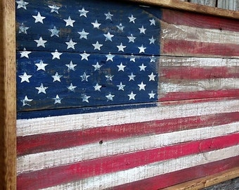 Framed American Flag, American Flag, Wood American Flag, wooden American flag, Framed USA Flag