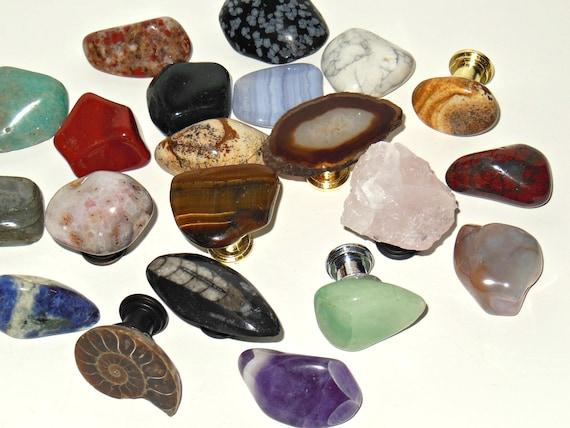 Set Of 24 ASSORTED CABINET KNOBS Gemstone Pulls Home Decor