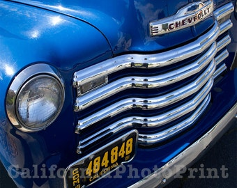 Chevy Truck Photo, 1951 Vintage Chevy, Chevrolet 3100 Pickup, Old Truck Photo, Chrome Front Grill, Chrome Art, Man Cave, Chevy Logo Photo
