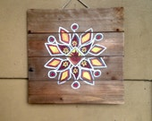 Fire Mandala Painting on Rustic Wood Pallet
