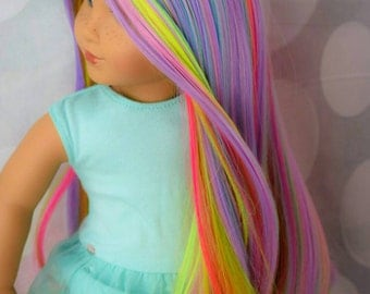 Custom 10-11 inch WIG FOR 18inch American Girl Doll Wig Rainbow Fits head circumference 10 11 inches only NEW Our Best Selling Rainbow!