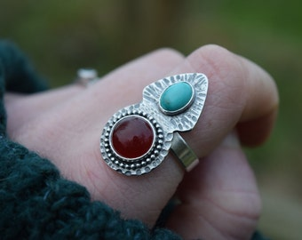 Warrior Ring // Turquoise, Carnelian and Sterling Silver