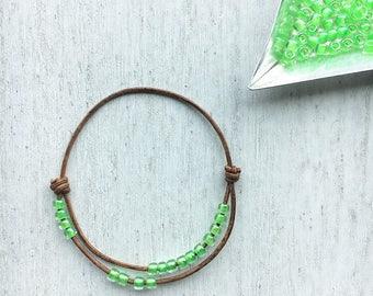 Adjustable Bead Bracelet neon green-  bracelets, bracelets for kids, beaded bracelet, seed bead bracelets, bead bracelet, jewelry