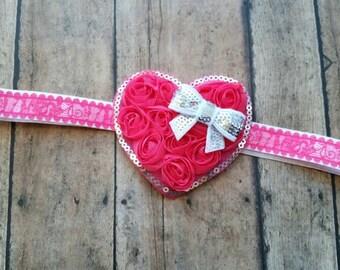Valentines heart headband -  heart baby headband - baby shower gift - baby girl gift - valentines headband - pink heart baby headband