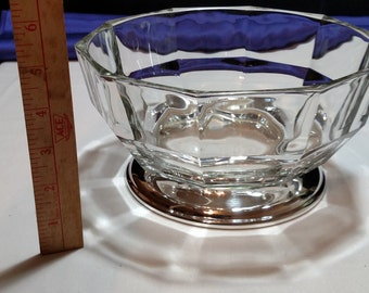 Heavy crystal and silver bowl