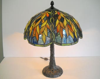 Stained Glass Lamp with Colorful Leaves
