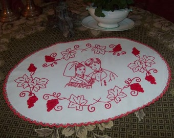 A charming Alsatian old embroidery. Red