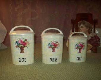 3 old canisters, basket of flowers, porcelain, France