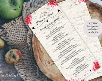 Wedding Menu PDF Wedding Bar Menu Printable Menu Kraft Wedding Dinner Menu Instant Download Template Rustic Menu Kraft Menu DIY Birds 001