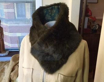 wonderful warm soft vintage lined rabbit fur scarf