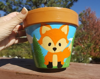 Hand Painted Clay Pot, Woodland Fox, Painted Clay Pot, Fox Graphic by Pixel Paper Prints