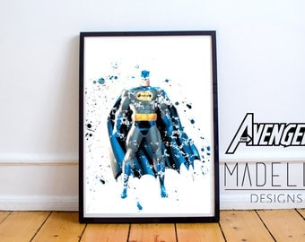 Batman Watercolour Splatter, Avengers, Avengers Watercolour, Instant download