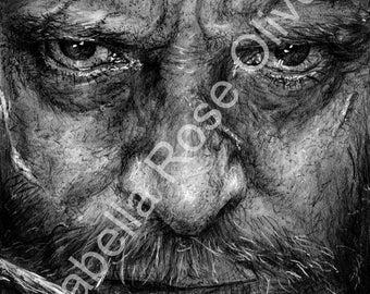 Logan Graphite Pencil Drawing Print