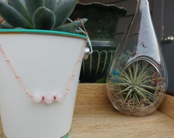 Rose Quartz and Ruby Minimalist Rose Gold Necklace