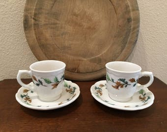 Syracuse China Demitasse Cups and Saucers / Set of 2 /  Kingswood Pattern / Vintage Restaurant China
