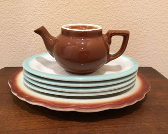 Vintage Hall China Single Serving Brown Teapot