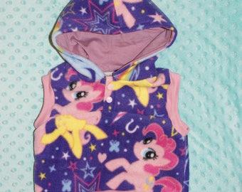 baby fleece vest, My Little Pony design, purple hoodie lining