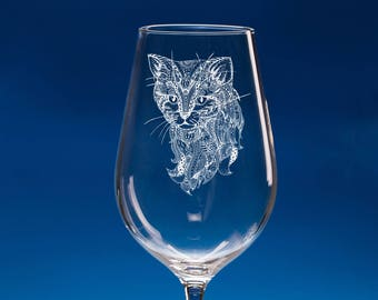 Cat Gift, Cat Wine Glass, Personalised Cat Gift for Her, Engraved Cat Gift for Mum, Mum Cat Gift, Cat Lady, Best Cat Lover Gift, Cat Glass