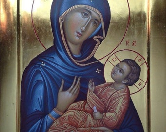Mother of God Byzantine orthodox icon egg tempera Богородица с Младенцем Византийская икона