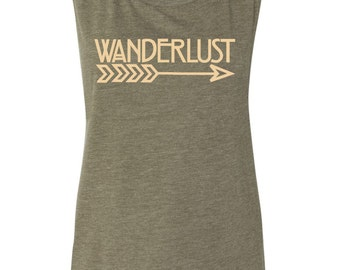 Wanderlust Muscle Tank - Free Shipping - Wander, Travel, Adventure, Boho, Bohemian, Boho Arrow, Boho Tank, Boho Muscle Tank, Wanderlust Tank