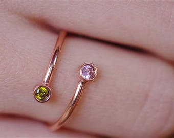 Couples Birthstone Ring, Couples Ring, Birthstone Ring, Dual Birthstone Ring, Valentines Ring, His And Her Ring, Personalized Ring, Ring