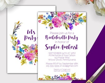 Garden Bachelorette Party Invitation Template, Printable Instant Download, Purple Bachelorette Party Invites, Floral Invite Template K003