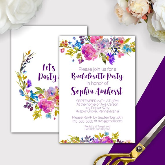 Garden bachelorette party invitation template printable instant il570xn maxwellsz