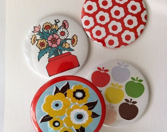 Retro Pocket mirror, mustard floral, flowers in vase or rainbow apple pattern.