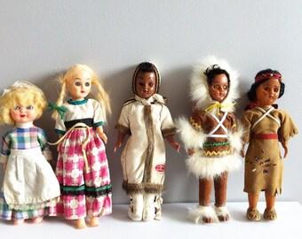 Vintage Costume Dolls, Job lot x 5, Carlson Dolls, Eug Cloutier, native American Indian,Inuit, Sleepy eye dolls.