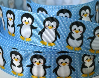 "1"" Cute Little Penguin - Grosgrain Ribbon"
